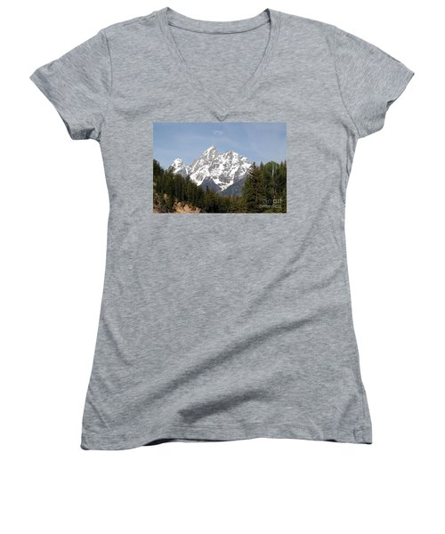 Grand Tetons Women's V-Neck T-Shirt (Junior Cut) by Living Color Photography Lorraine Lynch