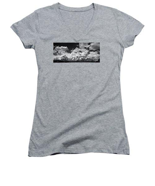 Grand Tetons Panorama In Monochrome Women's V-Neck T-Shirt (Junior Cut) by Ellen Heaverlo
