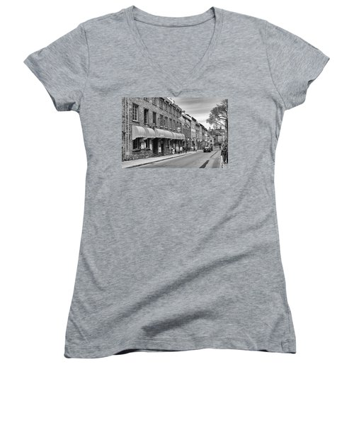 Women's V-Neck T-Shirt (Junior Cut) featuring the photograph Grande Allee by Eunice Gibb