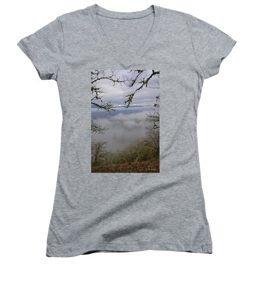 Grants Pass In The Fog Women's V-Neck T-Shirt (Junior Cut) by Mick Anderson