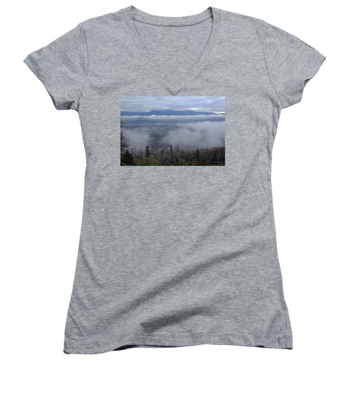 Grants Pass Weather Women's V-Neck T-Shirt (Junior Cut) by Mick Anderson