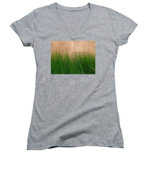 Women's V-Neck T-Shirt (Junior Cut) featuring the photograph Grass And Stucco by David Pantuso