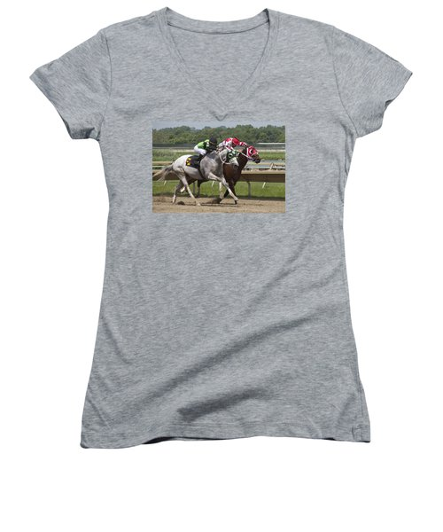 Women's V-Neck T-Shirt (Junior Cut) featuring the photograph Gray Vs Bay by Alice Gipson