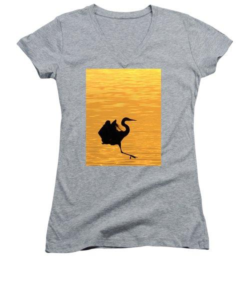 Women's V-Neck T-Shirt (Junior Cut) featuring the photograph Great Blue Heron Landing In Golden Light by Randall Branham