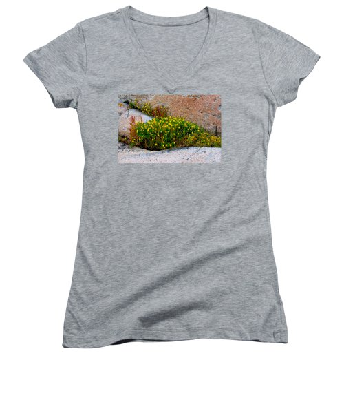 Women's V-Neck T-Shirt (Junior Cut) featuring the photograph Growing In The Cracks by Brent L Ander