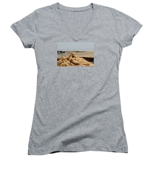 The Little Mermaid By The Sea Women's V-Neck (Athletic Fit)