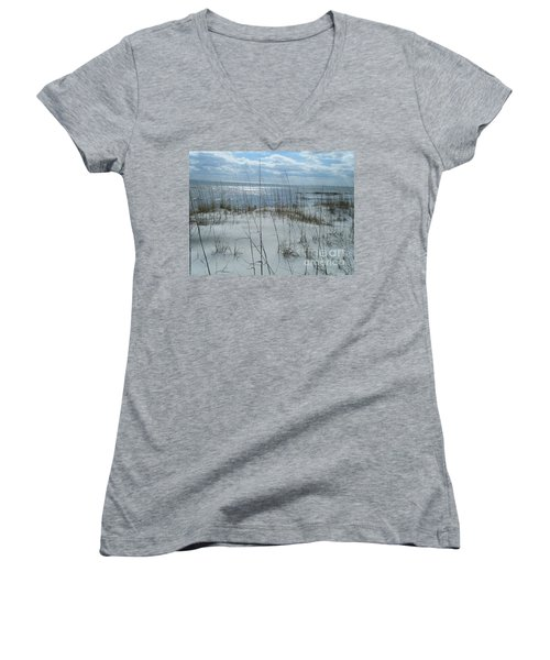 Women's V-Neck T-Shirt (Junior Cut) featuring the photograph Gulf Coasting  by Janice Spivey