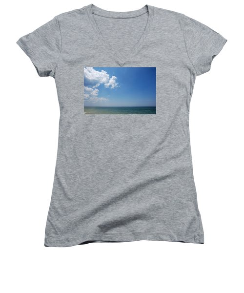 Women's V-Neck T-Shirt (Junior Cut) featuring the photograph Gulf Sky by Kay Lovingood