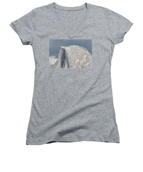 Half Dome From Glacier Point At Yosemite Np Women's V-Neck T-Shirt (Junior Cut) by Michael Bessler