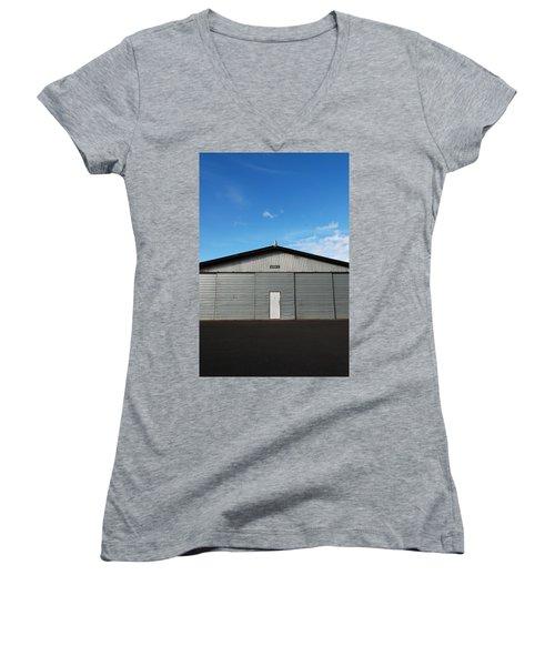 Women's V-Neck T-Shirt (Junior Cut) featuring the photograph Hangar 2 by Kathleen Grace