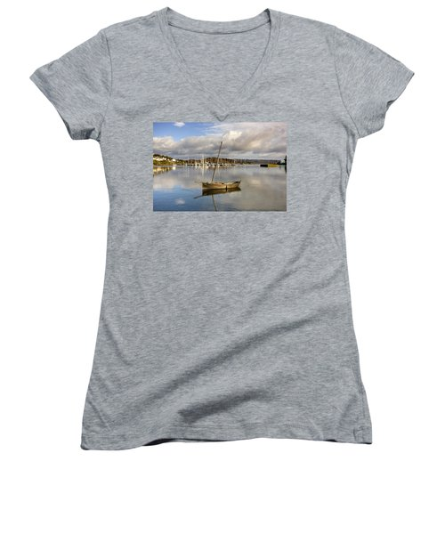 Harbour In Tarbert Scotland, Uk Women's V-Neck T-Shirt