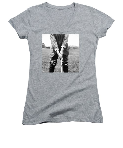 Women's V-Neck T-Shirt (Junior Cut) featuring the photograph Harry Vardon Displays His Overlap Grip by International  Images