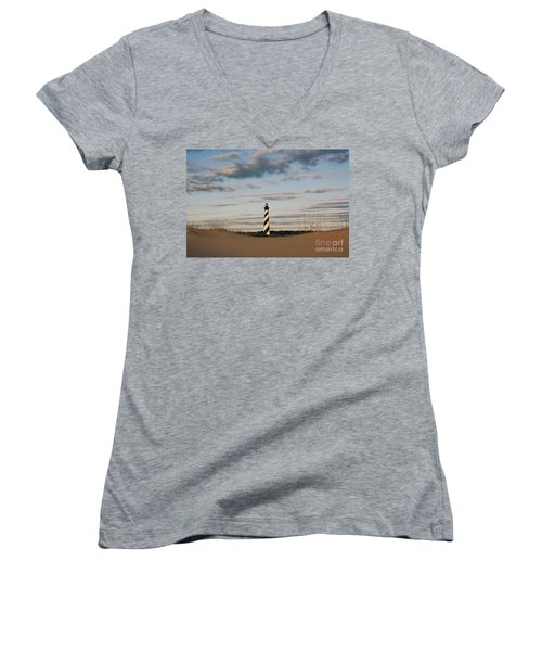 Hatteras Lighthouse And The Smiling Dune Women's V-Neck T-Shirt (Junior Cut) by Tony Cooper