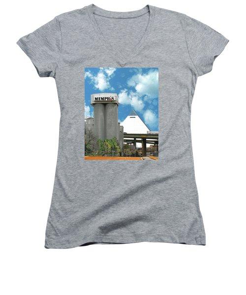 Women's V-Neck T-Shirt (Junior Cut) featuring the photograph Hello Memphis by Lizi Beard-Ward