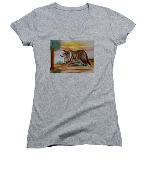 Herding Collie Women's V-Neck T-Shirt (Junior Cut) by Maria Urso