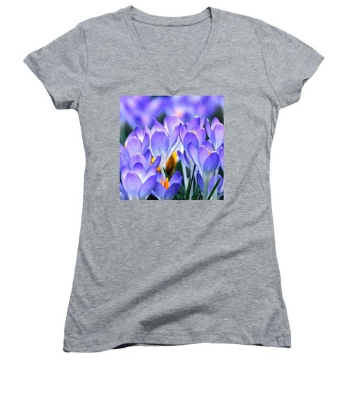 Women's V-Neck featuring the photograph Here Come The Croci by Byron Varvarigos
