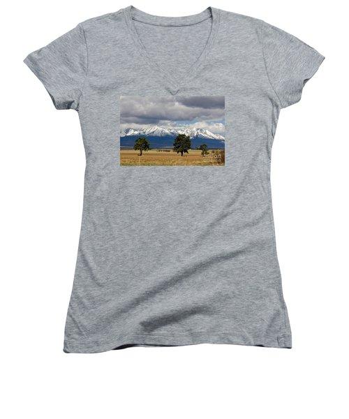 Women's V-Neck T-Shirt (Junior Cut) featuring the photograph High Tatras - Vysoke Tatry by Les Palenik