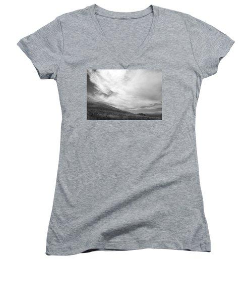 Women's V-Neck T-Shirt (Junior Cut) featuring the photograph Hillside Meets Sky by Kathleen Grace