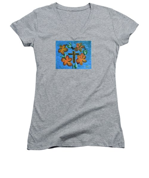 Women's V-Neck T-Shirt (Junior Cut) featuring the painting His Love For Us by Donna Brown