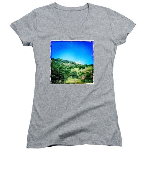 Women's V-Neck T-Shirt (Junior Cut) featuring the photograph Hollywood by Nina Prommer