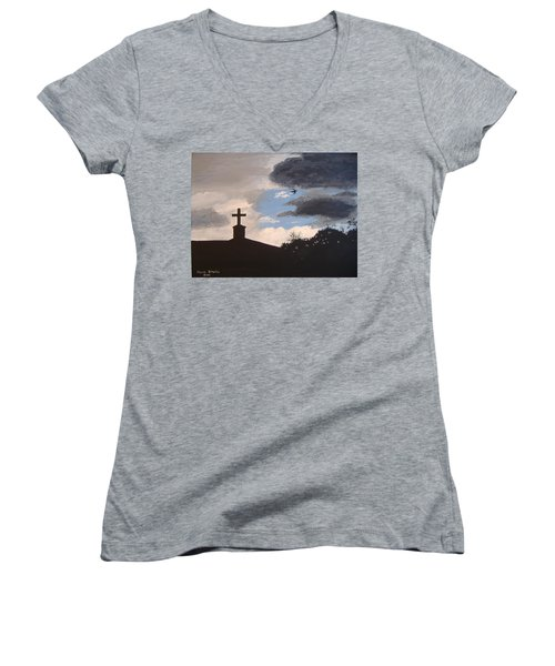 Women's V-Neck T-Shirt (Junior Cut) featuring the painting Hope In The Storm by Norm Starks