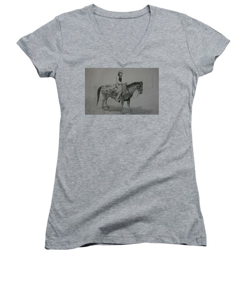 Women's V-Neck T-Shirt (Junior Cut) featuring the drawing Horseman by Stacy C Bottoms