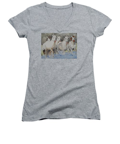 Horses Thru Water Women's V-Neck (Athletic Fit)
