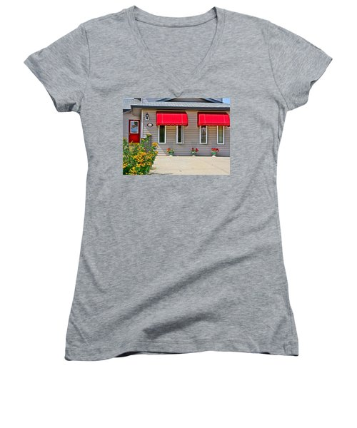 Women's V-Neck T-Shirt (Junior Cut) featuring the photograph House With Red Shades. by Johanna Bruwer