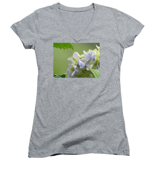 Women's V-Neck T-Shirt (Junior Cut) featuring the photograph Hydrangea Blossom by Katie Wing Vigil