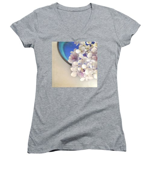 Hydrangeas In Blue Bowl Women's V-Neck T-Shirt (Junior Cut) by Lyn Randle