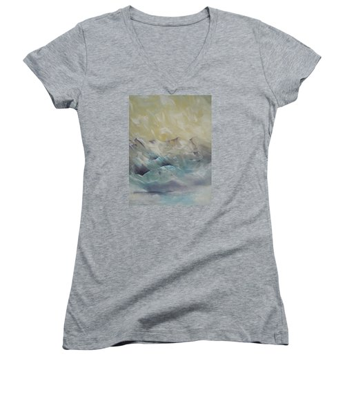 Women's V-Neck T-Shirt (Junior Cut) featuring the painting I Like It When It's Cold  by Dan Whittemore