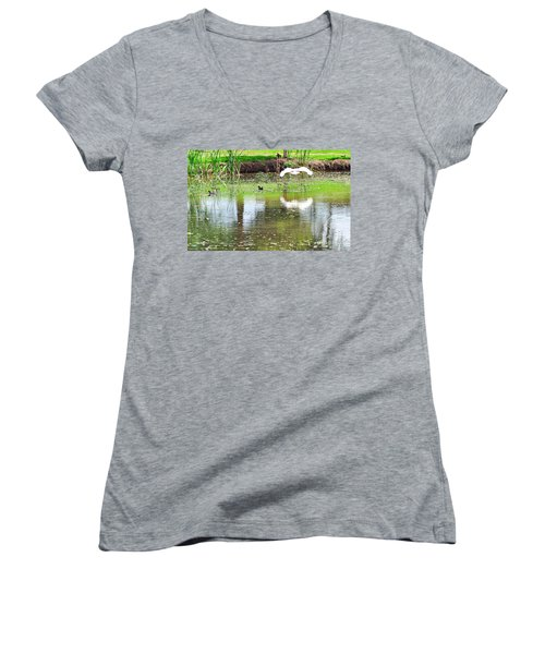 Ibis Over His Reflection Women's V-Neck T-Shirt (Junior Cut) by Kaye Menner