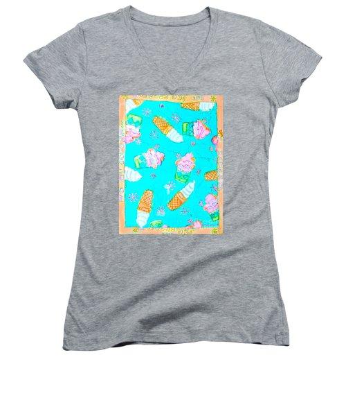 Ice Cream I Scream Women's V-Neck T-Shirt (Junior Cut) by Beth Saffer