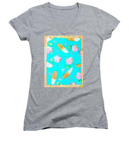 Ice Cream I Scream Women's V-Neck T-Shirt