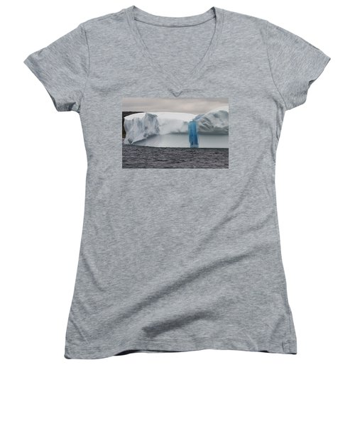Women's V-Neck T-Shirt (Junior Cut) featuring the photograph Iceberg by Eunice Gibb