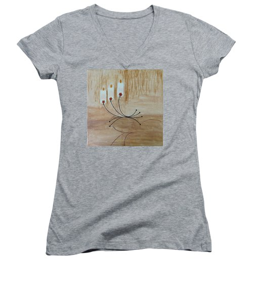 Women's V-Neck T-Shirt (Junior Cut) featuring the painting Illumination by Sonali Gangane