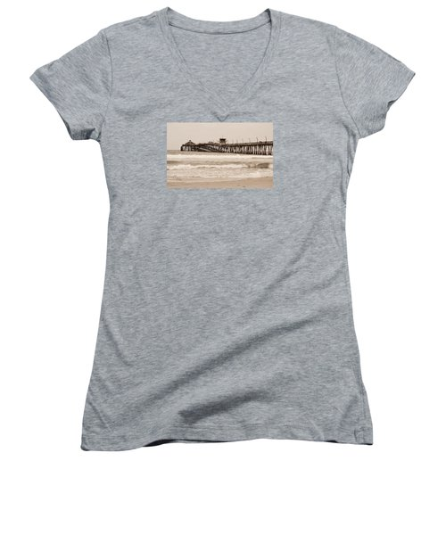 Women's V-Neck T-Shirt (Junior Cut) featuring the photograph Imperial Beach by Rima Biswas
