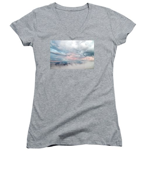 Women's V-Neck T-Shirt (Junior Cut) featuring the photograph In The Clouds by Jeannette Hunt