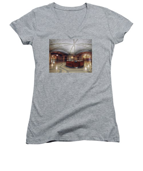 Women's V-Neck T-Shirt (Junior Cut) featuring the photograph Info Desk by Art Whitton