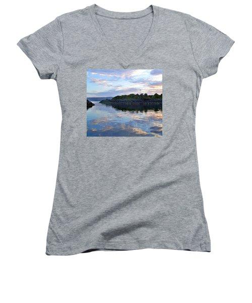 Women's V-Neck T-Shirt (Junior Cut) featuring the photograph Inverkip Marina by Lynn Bolt