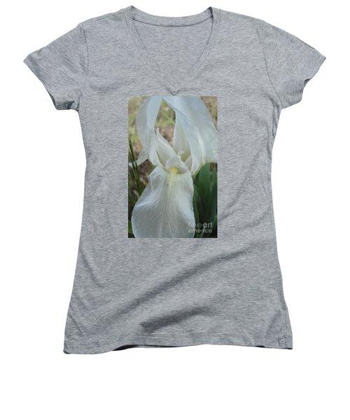Women's V-Neck T-Shirt (Junior Cut) featuring the photograph Iris Angel by Kerri Mortenson