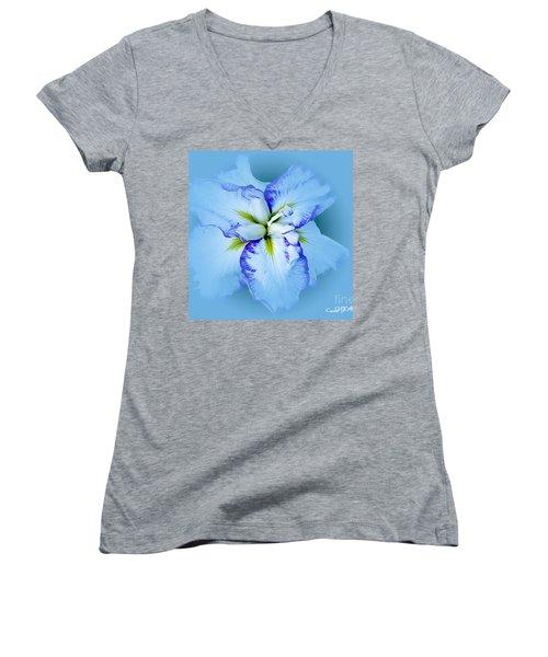 Iris In Blue Women's V-Neck T-Shirt (Junior Cut) by Carol F Austin