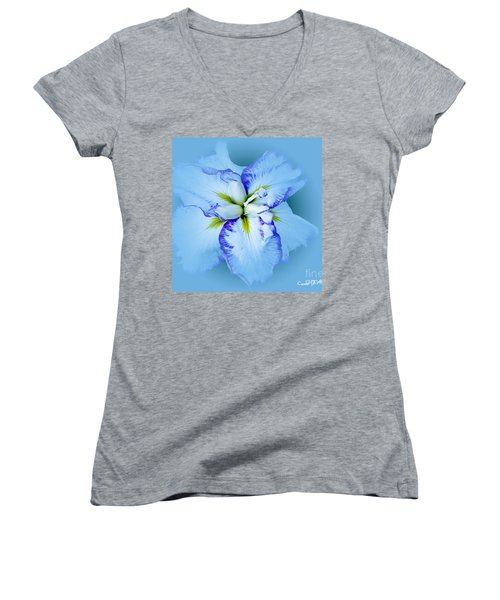 Iris In Blue Women's V-Neck T-Shirt
