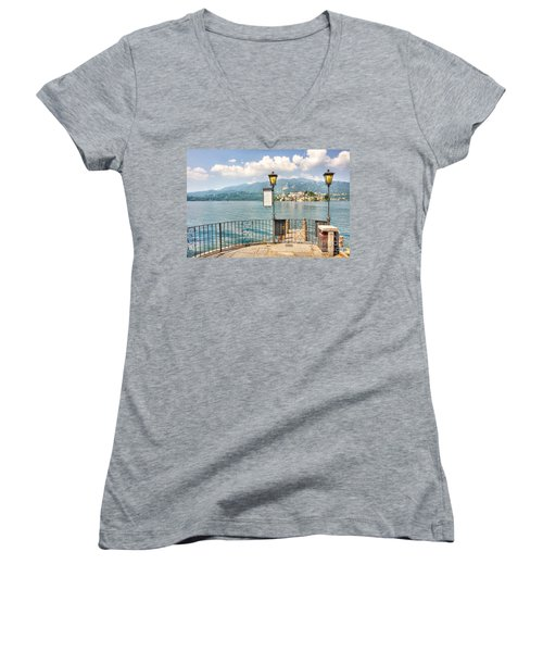 Island San Giulio On Lake Orta Women's V-Neck (Athletic Fit)