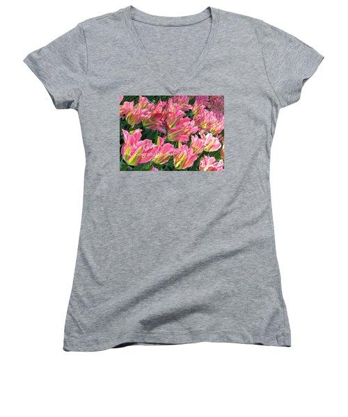 Women's V-Neck T-Shirt featuring the photograph It's A Girl. Congratulations by Ausra Huntington nee Paulauskaite