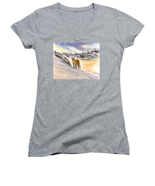 Women's V-Neck T-Shirt (Junior Cut) featuring the painting Jersey Shore Fox by Clara Sue Beym
