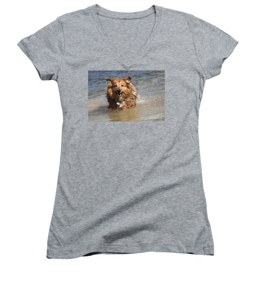 Women's V-Neck T-Shirt (Junior Cut) featuring the photograph Jesse by Jeannette Hunt
