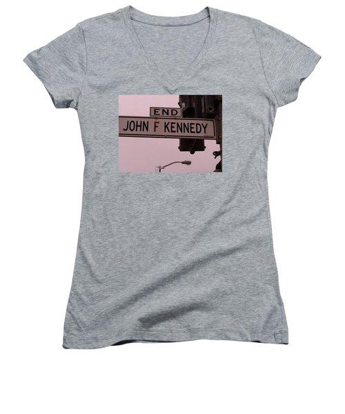 Women's V-Neck T-Shirt (Junior Cut) featuring the photograph Jfk Street by Bill Owen