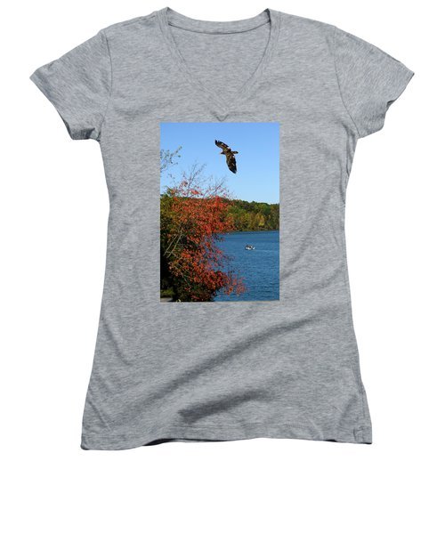 Women's V-Neck T-Shirt (Junior Cut) featuring the photograph Juvenile And Fishermen by Randall Branham