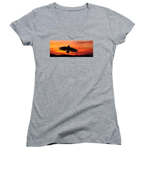 Women's V-Neck T-Shirt (Junior Cut) featuring the photograph Juvenile Sunset  by Randall Branham